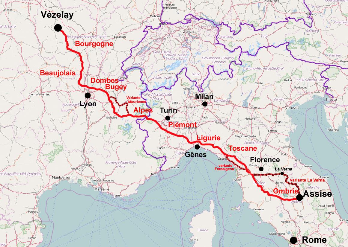 Carte Italie Assise.Chemins Vers Rome Assise Et San Michele Di Gargano Les